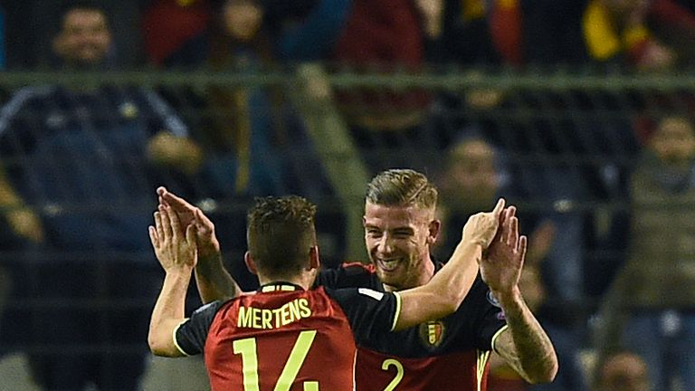 Belgium's Toby Alderweireld (R) celebrates with Belgium's Dries Mertens after scoring  during the Fifa WC 2018 football qualification match between Belgium