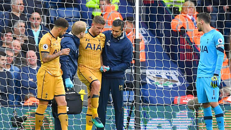 Alderweireld tried to carry on after a collision with Jan Vertonghen