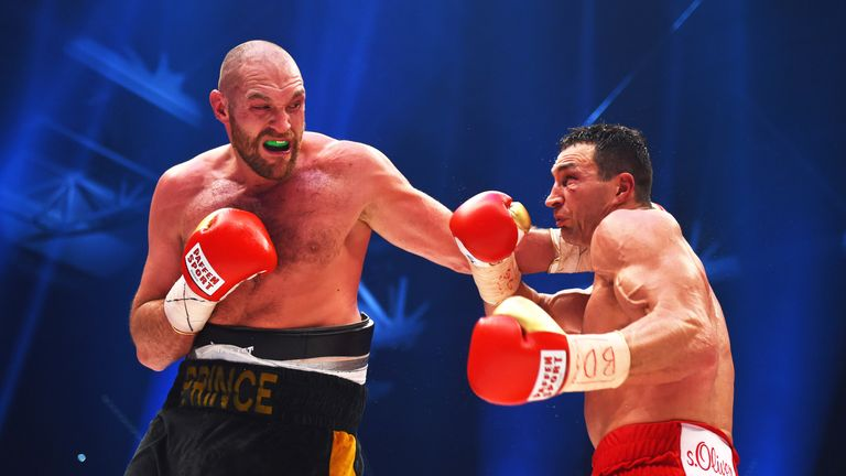 Tyson Fury and Wladimir Klitschko in action during their Heavyweight World title fight