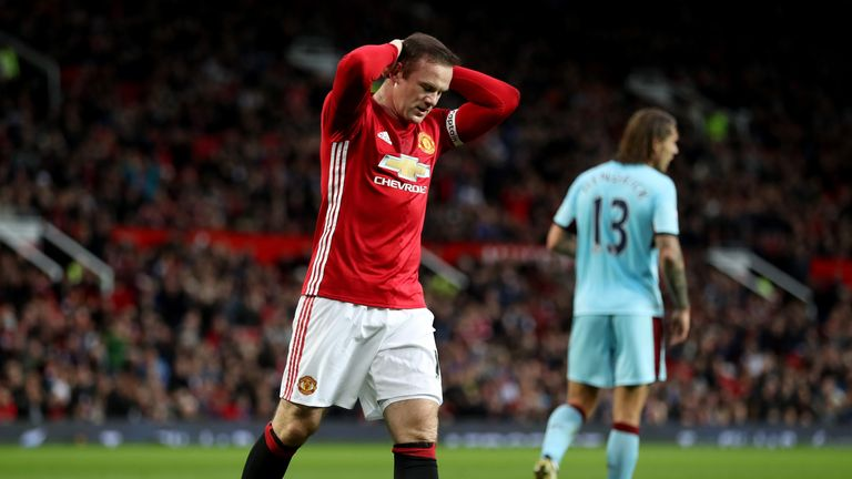 Wayne Rooney reacts during the Premier League match between Manchester United and Burnley