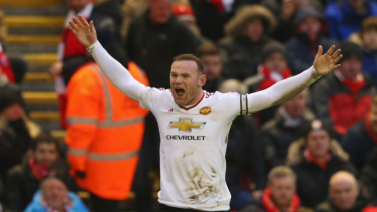 LIVERPOOL, ENGLAND - JANUARY 17:  Wayne Rooney of Manchester United celebrates after scoring the winning goal during the Barclays Premier League match betw