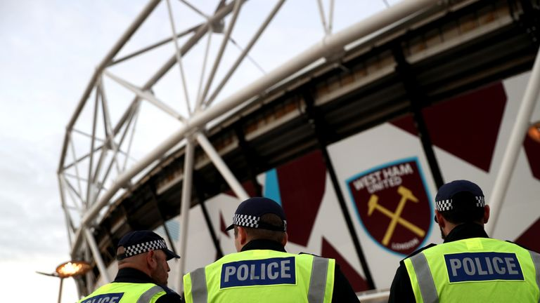 There was a significant police presence inside and outside the London Stadium