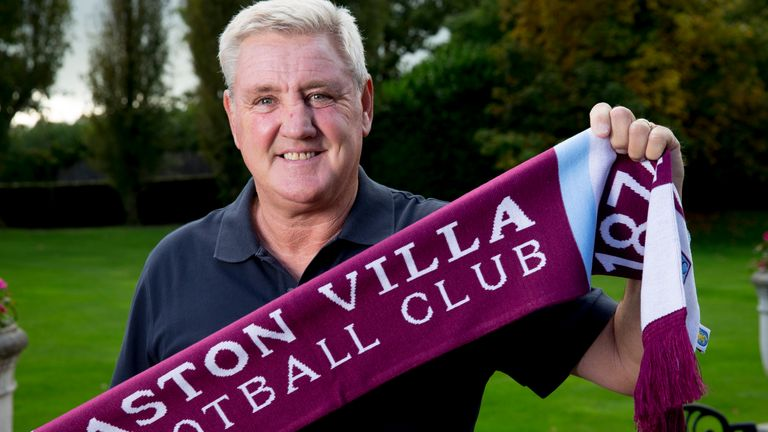 Steve Bruce the new manager of Aston Villa poses for a picture at the club's training ground at Bodymoor Heath