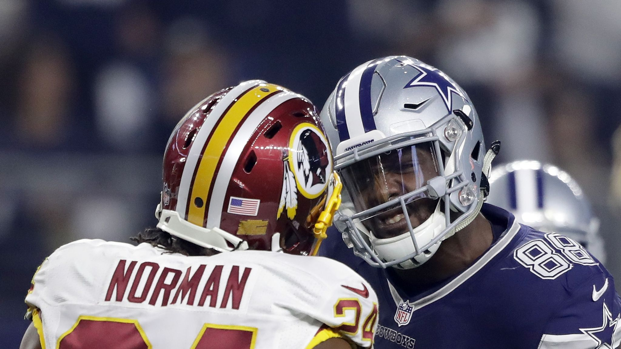 Dez Bryant And Josh Norman Come Helmet To Helmet During Game