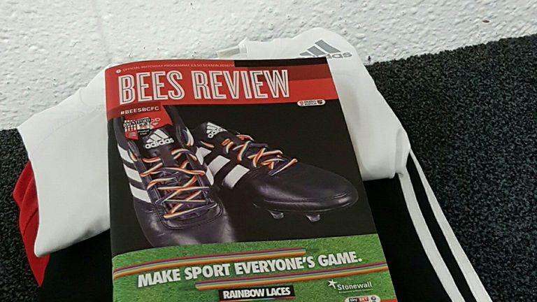 Bees Review Rainbow Laces match programme, Brentford v Birmingham, 26 November 2016 (picture via @BrentfordFC on Twitter)