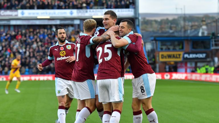 Burnley's players celebrate their win against Crystal Palace at Turf Moor