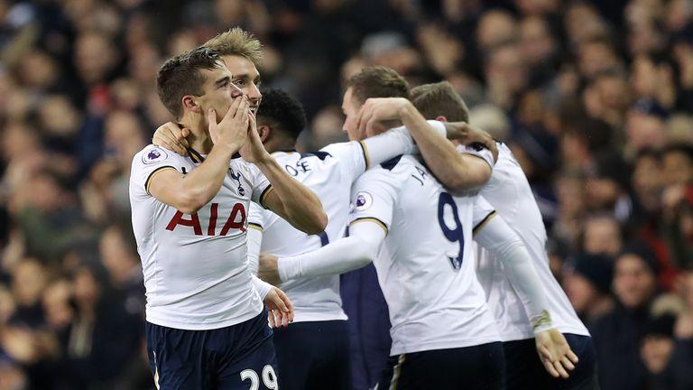 Tottenham Hotspur's Harry Winks celebrates scoring his side's first goal during the Premier League match v West Ham at White Hart Lane, London