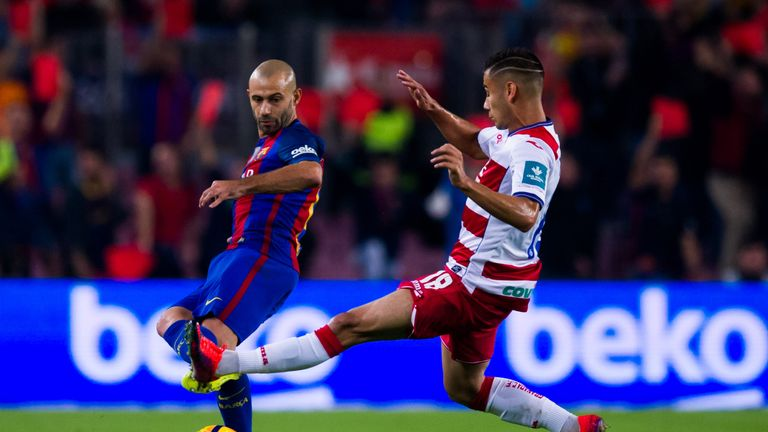 Pereira in action against Barcelona's Javier Mascherano this season