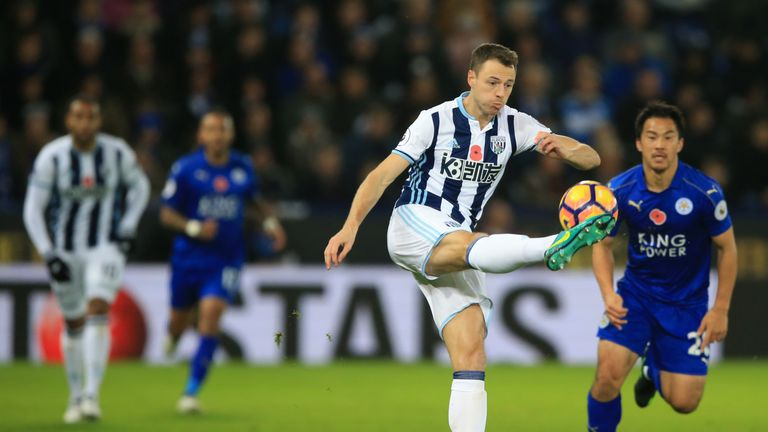 West Bromwich Albion's Jonny Evans in action during the Premier League match at the King Power Stadium, Leicester