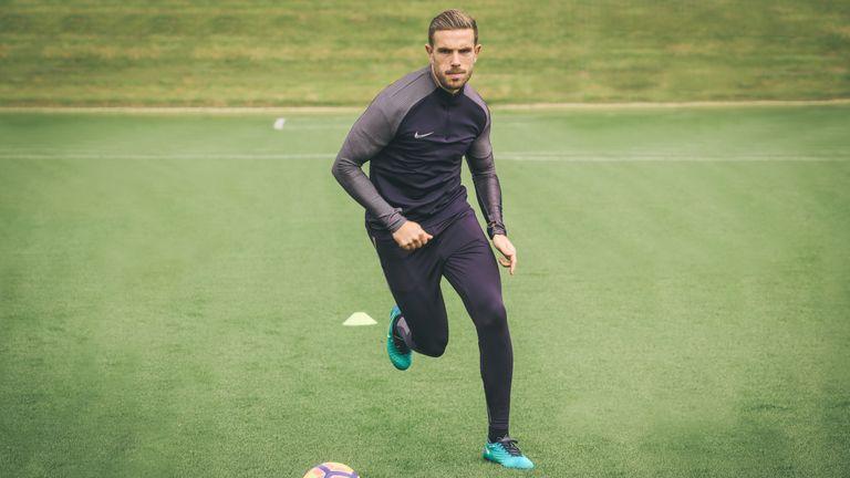 Jordan Henderson at work in Nike Football's new training apparel