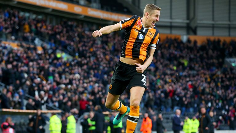 Michael Dawson of Hull City celebrates scoring his side's second goal during the Premier League match between Hull City and Southampton