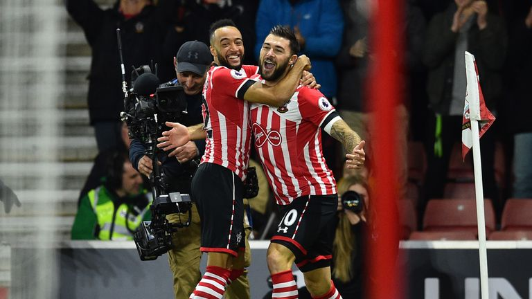 Nathan Redmond celebrates with Charlie Austin