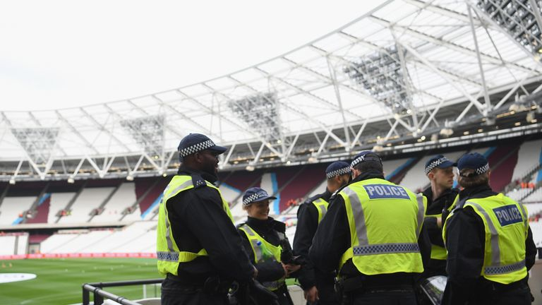 Policing measures are seen inside the stadium prior to the Premier League match between West Ham United and Stoke City at London Stadium