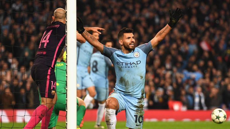 Sergio Aguero of Manchester City celebrates a goal in the 3-1 win over Barcelona