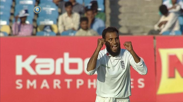 Adil Rashid celebrates a wicket during England's tour of India in 2016