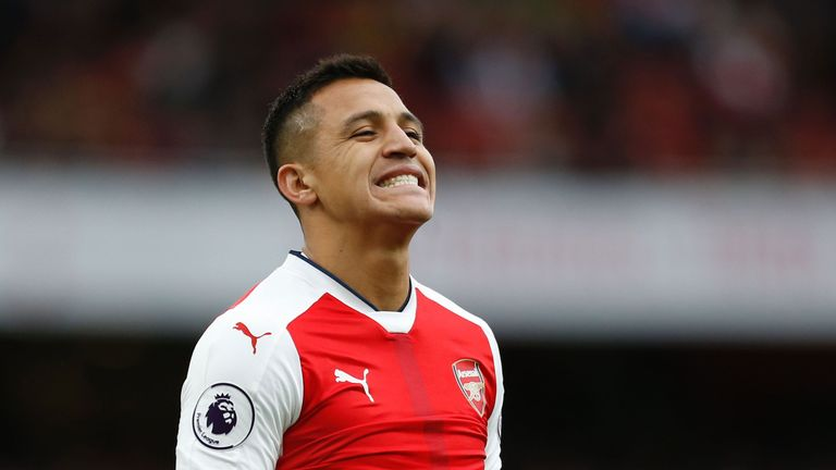 Arsenal's Chilean striker Alexis Sanchez reacts after missing a chance during the English Premier League football match between Arsenal and Middlesbrough a