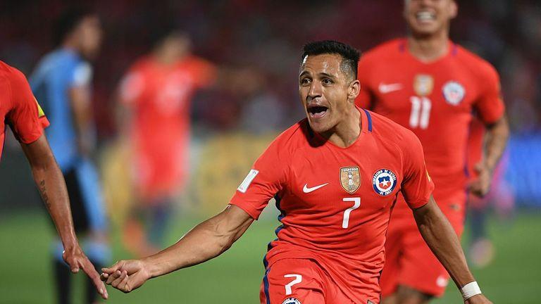 Chile's forward Alexis Sanchez celebrates after scoring against Uruguay