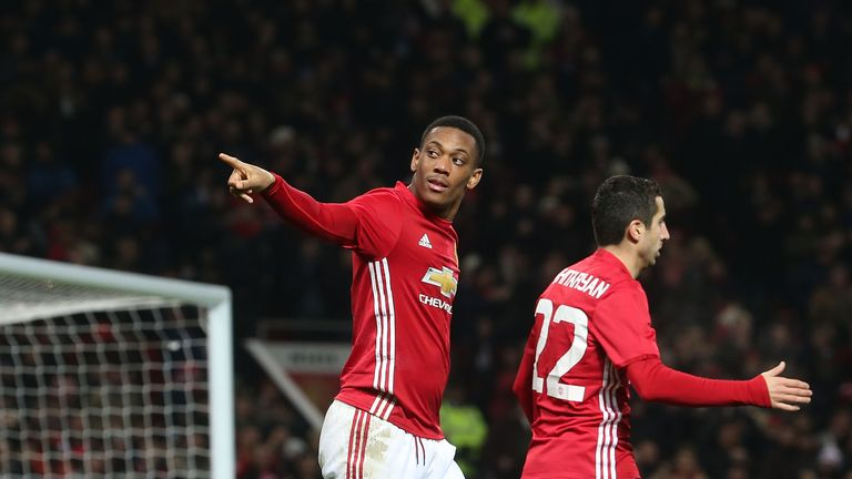 Anthony Martial celebrates after scoring for Man United in the EFL Cup at Old Trafford