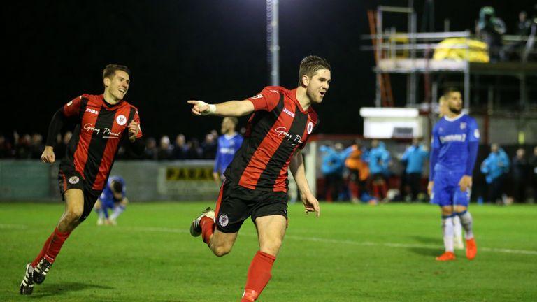 James Armson celebrates scoring Brackley Town's fourth goal of the game