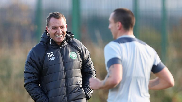 Brendan Rodgers takes training prior to the Champions League against Barcelona