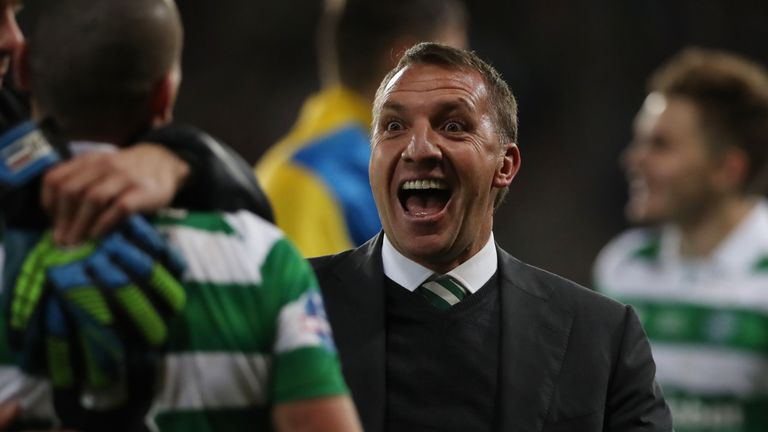 Brendan Rodgers celebrates winning his first trophy as Celtic boss
