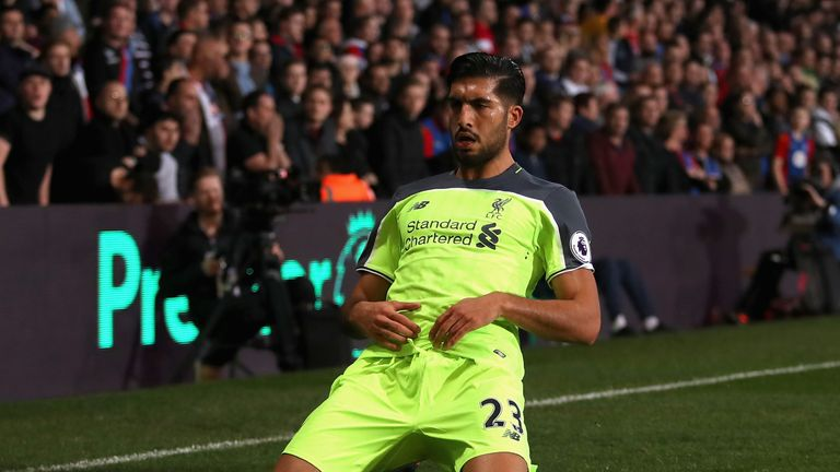 Emre Can celebrates after netting for Liverpool
