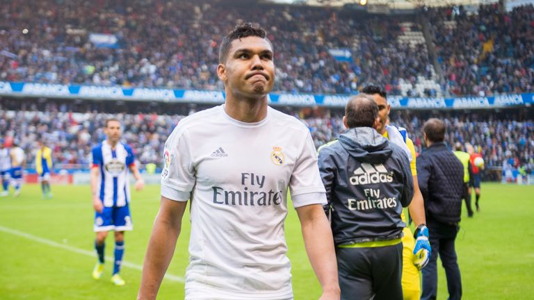 LA CORUNA, SPAIN - MAY 14: Casemiro of Real Madrid reacts during the La Liga match between RC Deportivo La Coruna and Real Madrid CF at Riazor Stadium on M