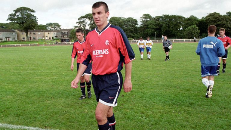 Prodan leaves the pitch after a bounce-match with Rangers