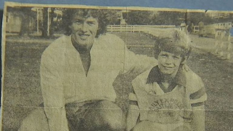 A newspaper cutting of former Preston player David Lean (R) and Barry Bennell