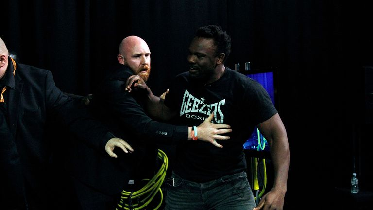 Dereck Chisora had to be restrained by security as tempers boiled over on 'The Gloves Are Off'