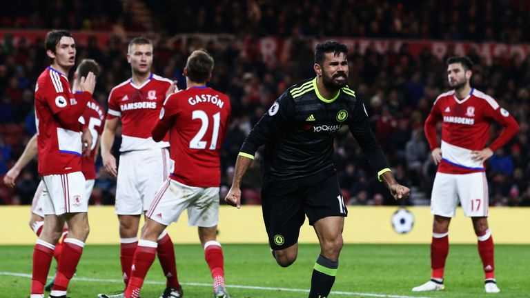 Diego Costa celebrates giving Chelsea the lead against Middlesbrough