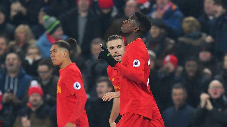 Liverpool's Divock Origi celebrates scoring his side's first goal