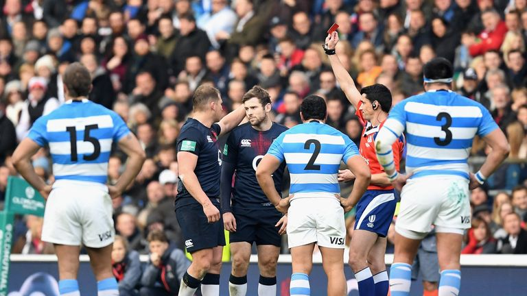 Elliot Daly was shown a red card for his clumsy challenge