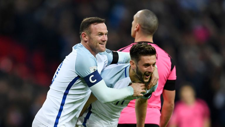 LONDON, ENGLAND - NOVEMBER 11:  Adam Lallana of England (11) celebrates with Wayne Rooney as he scores their second goal during the FIFA 2018 World Cup qua