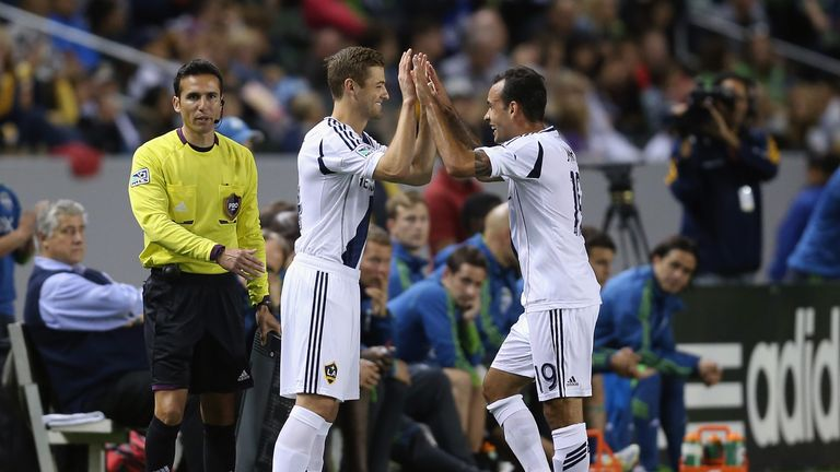 Robbie Rogers was all smile when he came on to a standing ovation in his debut for LA Galaxy