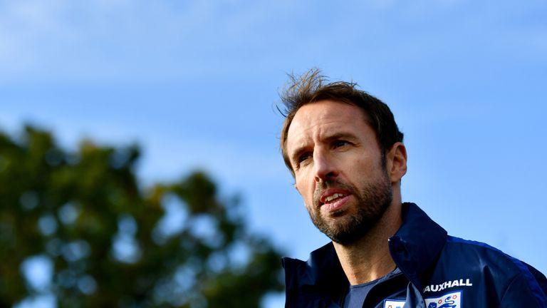 England manager Gareth Southgate supervises a training session