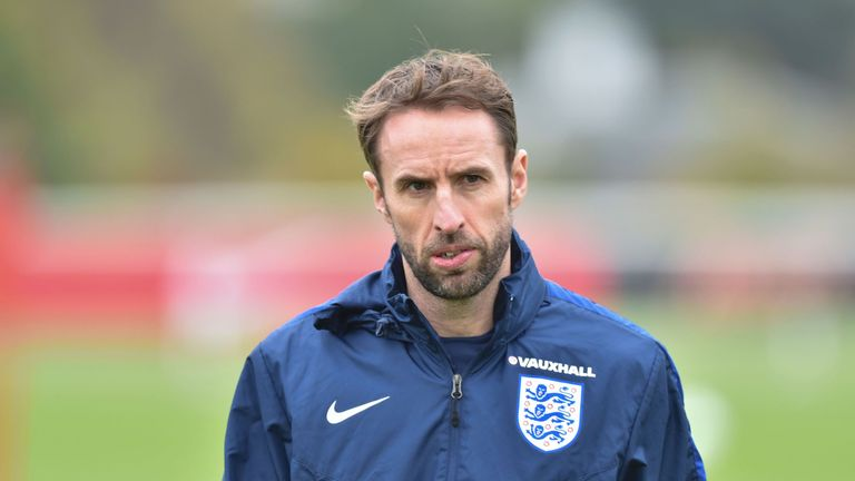 England interim manager Gareth Southgate leads a training session at Tottenham's training ground in north London on November 14, 2016 ahead of their intern