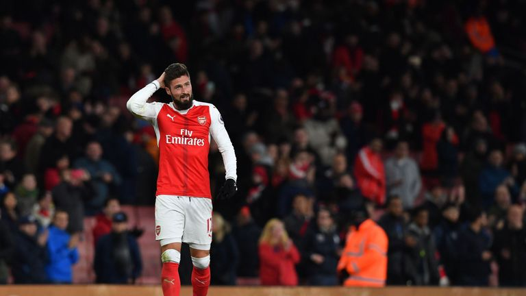 Olivier Giroud complained of a hamstring problem after the win over Bournemouth, says Arsene Wenger
