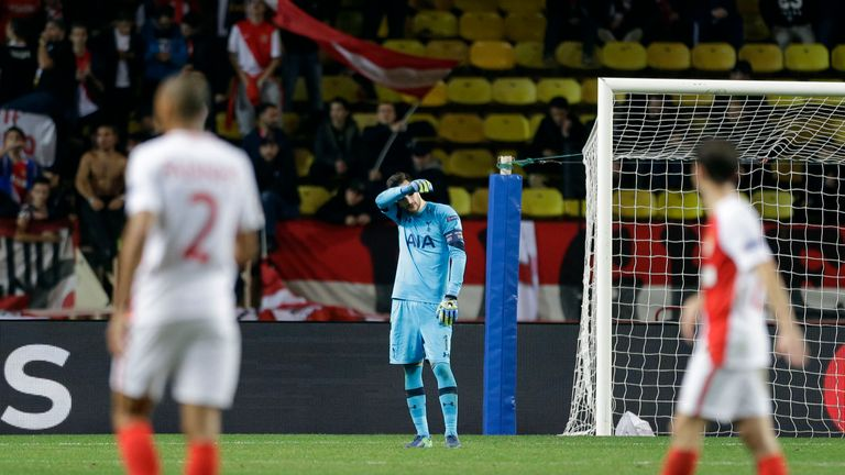 Tottenham's goalkeeper Hugo Lloris shows his dejection against Monaco