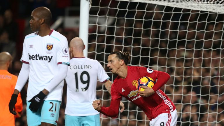 during the Premier League match between Manchester United and West Ham United at Old Trafford on November 27, 2016 in Manchester, England.