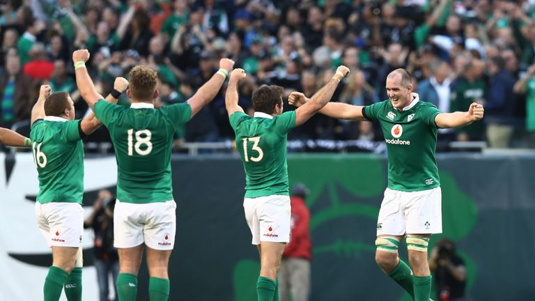 Devin Toner (far right) leads the celebrations after Ireland's stunning win over New Zealand