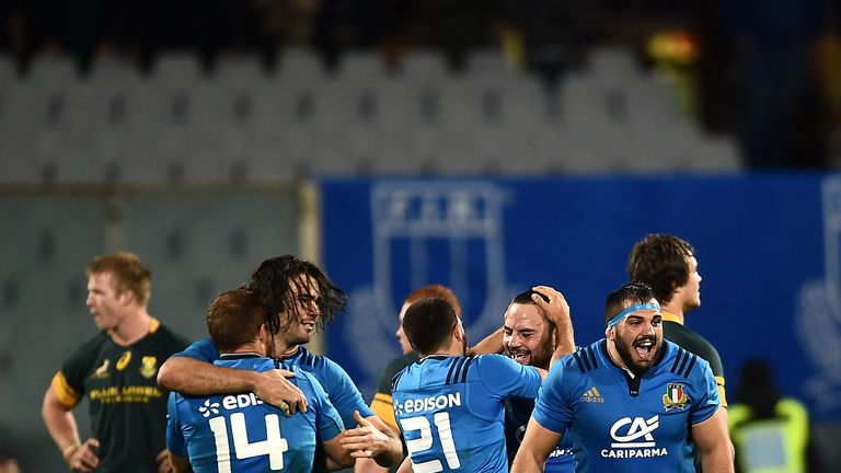 Italy celebrate after beating the Boks in November