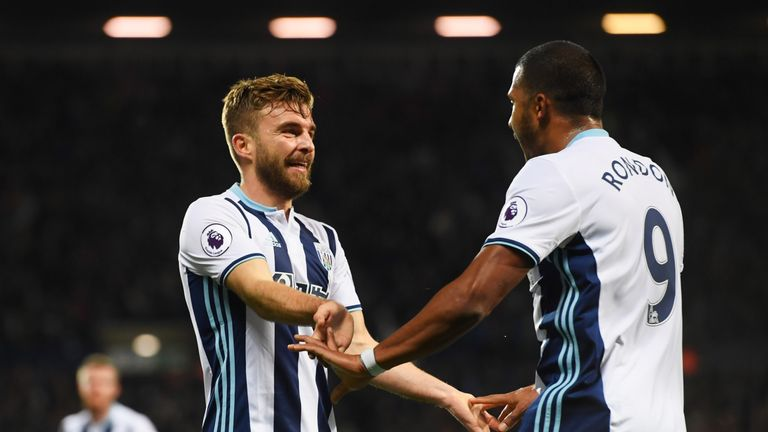 James Morrison of West Brom (left) celebrates with Jose Salomon Rondon