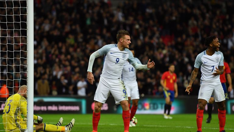 Jamie Vardy scored three minutes after half-time