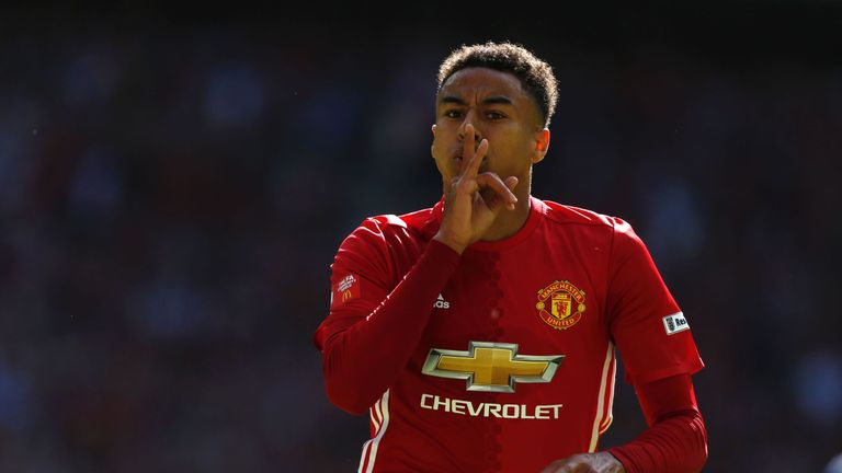 Manchester United's English midfielder Jesse Lingard celebrates scoring the opening goal during the FA Community Shield football match between Manchester U