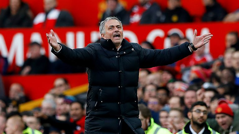 Jose Mourinho shows his frustration after Manchester United are denied a penalty