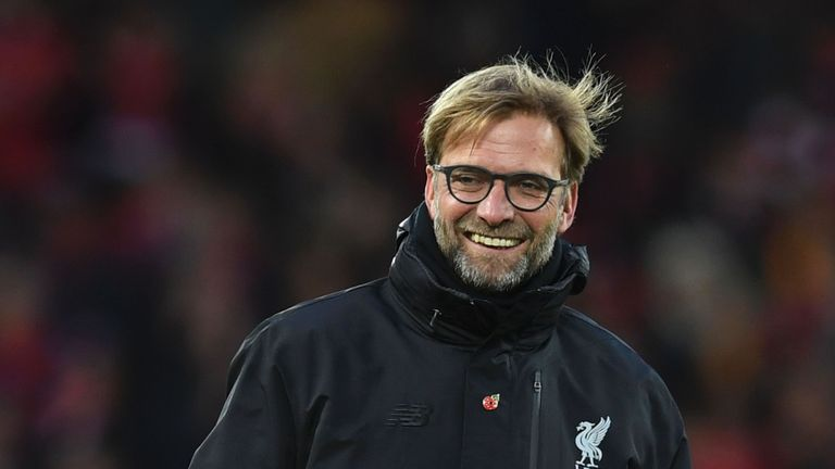 Liverpool manager Jurgen Klopp smiles after watching his side beat Watford 6-1