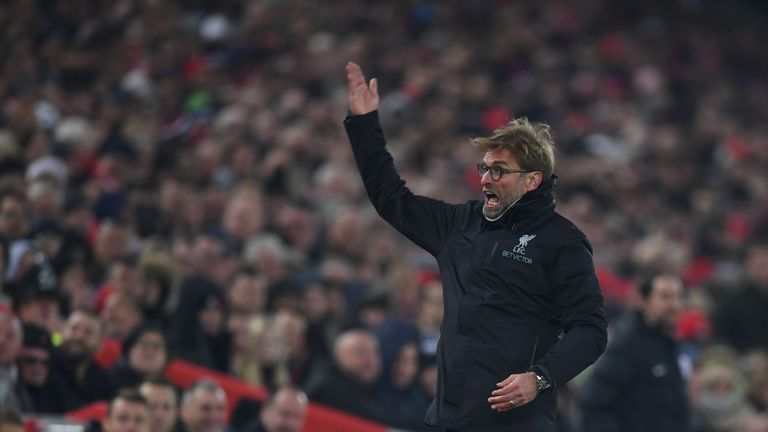 Liverpool's German manager Jurgen Klopp gestures and shouts at the crowd during the English Premier League football match between Liverpool and Sunderland