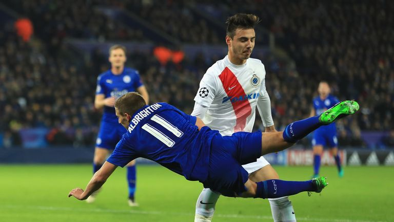Dion Cools fouls Marc Albrighton for Leicester's penalty