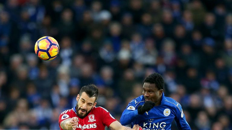 Negredo battles with Daniel Amartey in the middle of the park